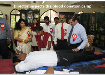 Director inspects the blood donation camp